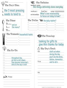 Free printable Day planner sheet  from: http://www.aholyexperience.com/2011/12/free-daily-planner-new-habits-free-daily-planner-printable/ Day Planners, Daily Printable, Printable Planner, Free Printables, Planner Template, Planner Stickers, Planner Sheets, Planner Pages, Life Planner