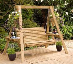 Charming simple wooden garden swing Garden Swings: The Enchanting Element in Your Backyard Wooden Garden Swing, Garden Swing Seat, Wooden Swings, Porch Swing Frame, Wooden Swing Frame, Garden Pallet, Pergola Garden, Swing Chairs, Pallet Patio