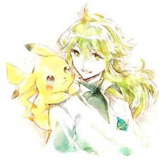 "Pikachu and N by ""Blessing"" on pixiv.net"