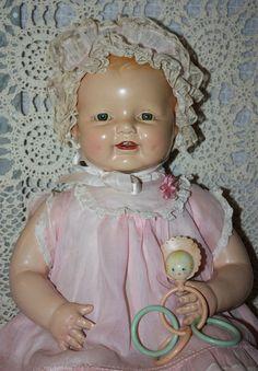 "Original Composition 22 inch Horsman ""Dimples"" Doll Near Mint 1928"