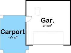 Craftsman Garage with Covered Carport - 62589DJ | Architectural Designs - House Plans Carport Sheds, Carport Garage, Garage Exterior, Detached Garage, Garage Plans With Loft, Garage Floor Plans, Enclosed Carport, Metal Shop Houses, Carriage House Plans