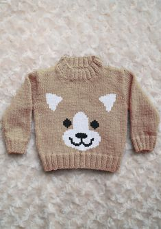 Intarsia Dog Face Chart Childrens Sweater Knitting pattern by Instarsia Baby Boy Knitting Patterns, Knitting Charts, Knitting For Kids, Pixel Crochet Blanket, Intarsia Knitting, Pull Bebe, Baby Sweaters, Crochet Baby, Arabic Makeup