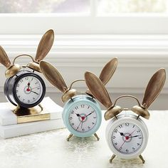 """The Emily + Meritt Bunny Alarm Clock #pbteen$59  7.75"""" wide x 2.75"""" deep x 8"""" high  Expertly crafted of metal.  Features whimsical detailing.  Requires 2 AA batteries; not included."""