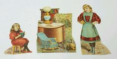 3 PC DIE CUT LION COFFEE TRADE CARDS PAPER DOLLS THE LIBRARY | eBay