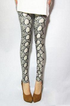 Korean Snake Skin Effect Skinny Leggings from Oasap