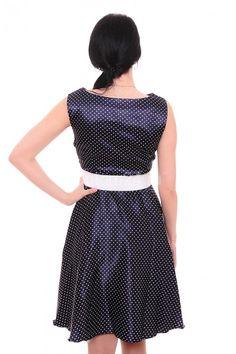 Платье темно-синее в горошек А7653 Размеры: 46-52 Цена: 675 руб.  http://optom24.ru/plate-temno-sinee-v-goroshek-a7653/  #одежда #женщинам #платья #оптом24