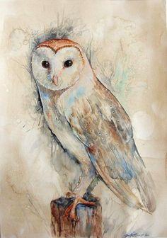 Barn Owl by Zorionart. on deviantART-Barn, Owl, DeviantArt, Zorionartdeviant Watercolor Barns, Owl Watercolor, Tattoo Watercolor, Owl Photos, Owl Pictures, Animal Paintings, Animal Drawings, Owl Drawings, Bird Barn