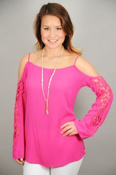 a70275b8877f7 Fuschia Cold Shoulder Top w Lace Sleeves