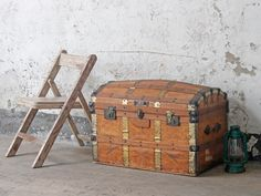 Leather Travel Trunk  From Scaramanga's vintage furniture collection. All old travel trunks make great storage solutions while bringing classic charm into your home #vintage #interiors #decor