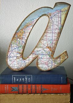 Large letter covered with map. Like this look to add to a bookshelf.