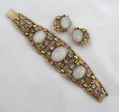Selro Bracelet Earrings Cloud Glass Pastel Rhinestones Wide Chunky Antiqued Goldtone