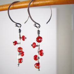 Mobile Earrings in Silver with Bright Carnelian. $44.00, via Etsy.