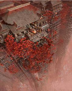 Digital Art - Wonders Liyomizu by Te Hu Fantasy City, Fantasy Places, Fantasy World, Fantasy Landscape, Landscape Art, Creation Art, Arte Cyberpunk, Fantasy Setting, Environment Design