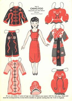 July 1949 Wee Wisdom Paper Dolls of Making Clothes From Old Clothes, Make Your Own Clothes, Paper Doll Template, Paper Dolls Printable, Paper Art, Paper Crafts, Chinese Paper, Origami, Vintage Paper Dolls