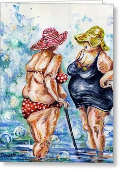Old Women Painting - You Look Remarkable in that Suit by Margaret Donat Old Lady Humor, Fat Art, Old Folks, Fat Women, Whimsical Art, Illustrations, Big And Beautiful, Female Art, Fine Art America