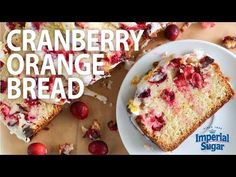 Cranberry Orange Bread | Imperial Sugar  Polly Packed with fresh, tart cranberries and zesty orange citrus and topped with a sweet orange glaze, this easy quick bread recipe is bursting with fall flavors and colors.