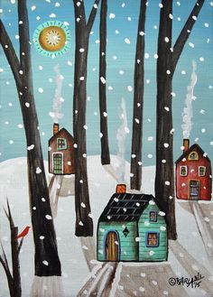 Heavy Snow 5x7inch ORIGINAL Canvas Panel PAINTING Abstract FOLK ART Karla G ..another new painting for sale.... #FolkArtAbstractPrimitiveLandscape