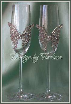 Свадебные бокалы SWAROVSKI - Свадебные бокалы, свабедное шампанское, тюнинг кристаллами SWAROVSKI, свадебные подушки, подушки под кольца, бо...