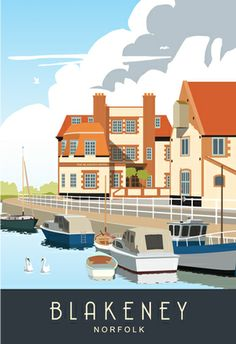 Blakeney on the North Norfolk coast. Travel/Railway style poster. Available from www.whiteonesugar.co.uk from £12
