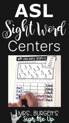 ASL Vocabulary Activities will help your students get the practice they need to master English Sight Words. Learning Sight Words, Sight Words List, Vocabulary Activities, Language Activities, Sight Word Centers, American Sign Language, Reading Resources, Creative Teaching, Elementary Education