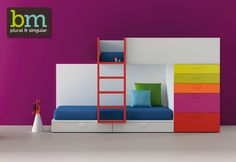 very practical bunk beds with integrated colorful drawers - bm2000 children furniture