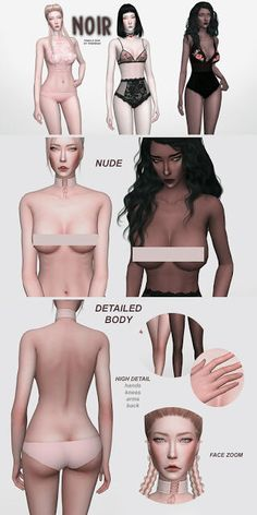 NOIR Realistic Female Skin for The Sims 4