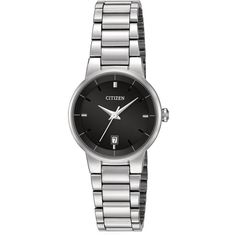 Citizen Womens Stainless Steel Bracelet Watch EU6010-53E ($72) ❤ liked on Polyvore featuring jewelry, watches, citizen wrist watch, watch bracelet, bracelet watch, stainless steel wrist watch and black face watches