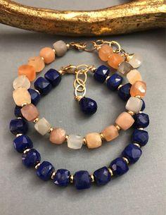 Gemstone Bracelets, Handmade Bracelets, Gemstone Jewelry, Jewelry Bracelets, Jewelery, Handmade Jewelry, Lapis Lazuli Bracelet, Beaded Jewelry Designs, Small Earrings