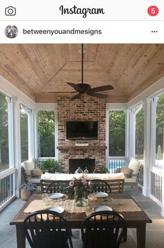 Design A Patio with Fireplace and Screened Porch . Design A Patio with Fireplace and Screened Porch . Patio Screen Partitions for An Absolutely Gorgeous Deck Outdoor Living Rooms, Outside Living, Outdoor Spaces, Outdoor Patio Fans, Outdoor Kitchens, Living Spaces, Enclosed Porches, Screened In Porch, Front Porch
