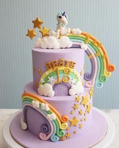 Rainbow Dash Birthday, Unicorn Themed Birthday Party, Little Pony Birthday Party, Birthday Cake Girls, Dipper Cakes, Gravity Defying Cake, Little Pony Cake, Girl Cakes, Cute Cakes
