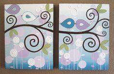 Púrpura y Aqua Brooklyn Ave vivero arte, 12 x dos 16 lienzos, hecho por encargo