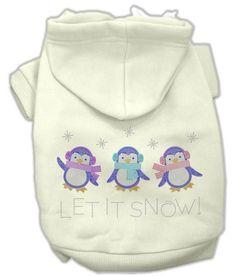 Let it Snow Penguins Rhinestone Hoodie Cream XXXL(20)