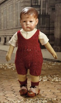 """""""Fascination"""" - Sunday, January 160 Early German Cloth Character by Kathe Kruse Dollhouse Dolls, Miniature Dolls, Victorian Dollhouse, Modern Dollhouse, Miniature Houses, Old Dolls, Antique Dolls, Boy Doll Clothes, Barbie Clothes"""