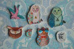 RETRO-pasteller    Birds, neacklace Owls, Birds, Retro, How To Make, Owl, Bird, Retro Illustration, Tawny Owl