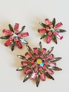 Vintage Judy Lee Rhinestone Brooch and Earring Set Pink and Smokey Gray Rhinestones Starburst Flower Pin Jewelry Set by JanesVintageJewels on Etsy