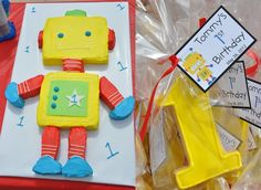 Robot Cake & Cookies for a 1st Birthday Party