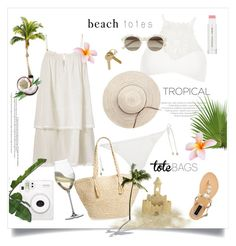 """""""Tropical Beach Totes"""" by rever-de-paris ❤ liked on Polyvore featuring River Island, Heidi Klein, Forever New, Phase 3, Maison Margiela, Fuji, Jane Iredale, Riedel and self-portrait"""