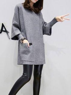Shop Dresses - Gray Long Sleeve Crew Neck H-line Plus Size Dress online. Discover unique designers fashion at PopJuLia.com.