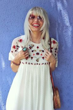 ❤️ A Gorgeous Embroidery Dress in White. Now available at $45 as featured on Pasaboho. ❤️ This boho dress exhibit brilliant colours with unique embroidered floral patterns. ❤️ We Love boho style and Free Spirit Fashion Trend hippie girls sharing woman outfit ideas. *Available for wholesale :: bohemian clothes, cute dresses and skirts. Fashion trend and styles from hippie chic, modern vintage, gypsy style, boho chic, hmong ethnic, street style, geometric and floral outfits.