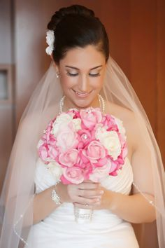 Hot Pink Wedding Bouquets   Real Touch Bridal Bouquet - Hot Pink, Soft Pink and White with ...