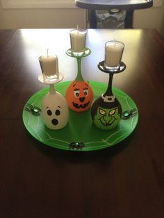 Halloween decor, upside down wine glasses