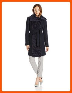 Vince Camuto Women's Wool Wrap Coat with Belt and Zipper, Navy, Medium - All about women (*Amazon Partner-Link)