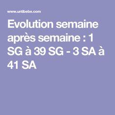 Evolution semaine après semaine : 1 SG à 39 SG - 3 SA à 41 SA