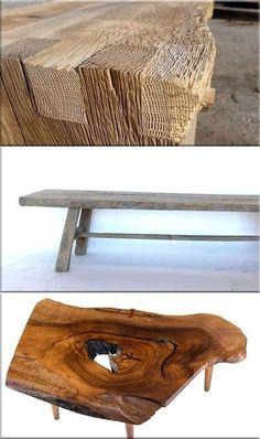 bútorok, vabi szabi dizájn Rustic Furniture, Furniture Design, Outdoor Furniture, Outdoor Decor, Wabi Sabi, Wood Projects, Bench, Table, Home Decor