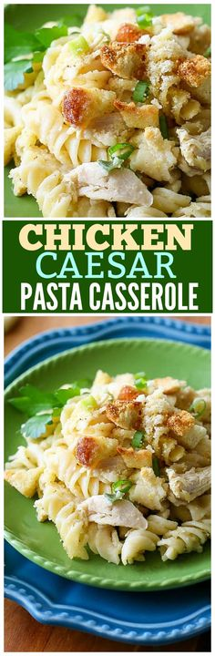 Chicken Caesar Pasta Casserole - a pasta dish with creamy Caesar dressing and topped with crushed garlic croutons. the-girl-who-ate-everything.com