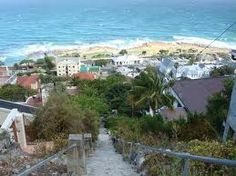 Looking down to St James from Jacob's Ladder, Cape Town. Adventure Style, Adventure Travel, Jacob's Ladder, Cape Town, South Africa, Scenery, Places To Visit, African, City