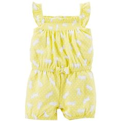 6119b399e67 A smocked neckline and ruffle sleeves make this easy romper a darling  outfit for your baby girl. With a puppy print and bow detail