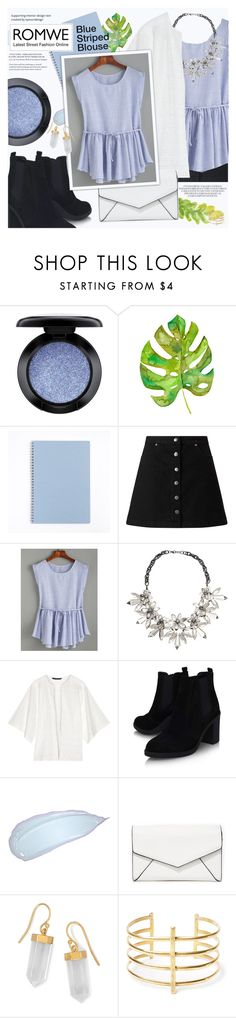 """Blue Striped Blouse from ROMWE"" by lunaarmani ❤ liked on Polyvore featuring MAC Cosmetics, Miss Selfridge, John Lewis, W118 by Walter Baker, Topshop, LULUS, BillyTheTree and BauXo"