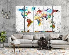 Large Push Pin World Map Wall Art Canvas, Print Large Wall Art Watercolor World Map Art, Print Large Map, Print Extra Large Wall Art 3 Piece Canvas Art, Large Canvas Prints, Canvas Wall Art, Wall Art Prints, World Map Canvas, World Map Wall Art, Tree Wall Art, Wall Art Decor, Water Color World Map