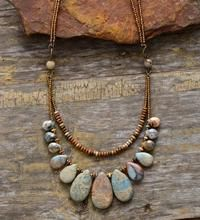 Handmade Natural Agate & Jasper Multi-Layer Necklace – Most Beautiful Necklaces Necklace Types, Boho Necklace, Fashion Necklace, Fashion Jewelry, Gemstone Necklace, Strand Necklace, Jasper Gemstone, Agate Gemstone, Fashion Fashion